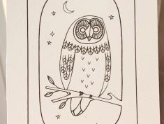 simple line owl brown