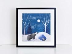 Winter Badger giclee