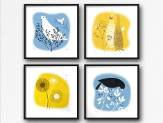Yellow blue2 set4 dove dandelion